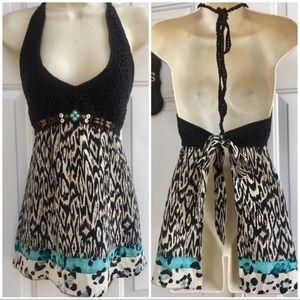 Nanette Lepore Bohemian Silk Crochet Halter Top XS